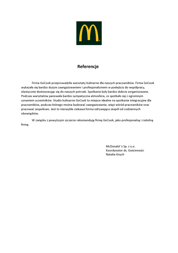 Referencje-McDonald's