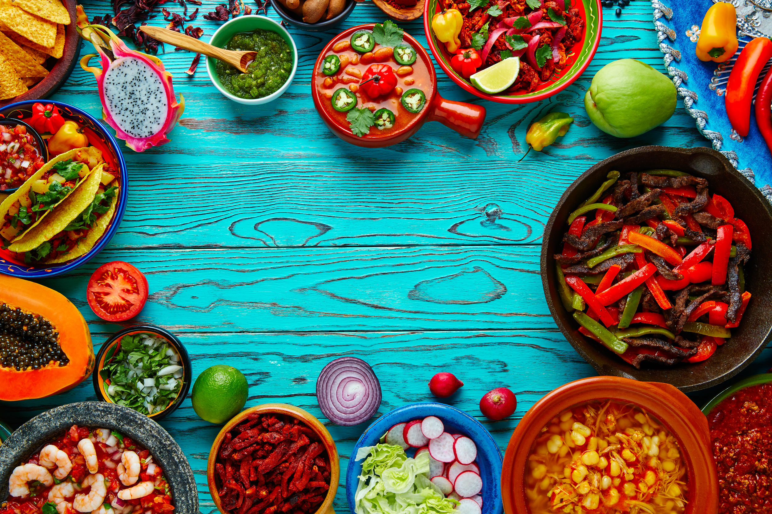 51858278 – mexican food mix copyspace frame colorful background mexico